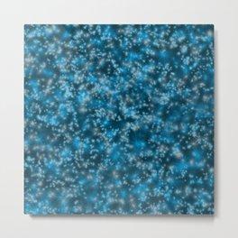 Turquoise Blue Field of Stars Metal Print
