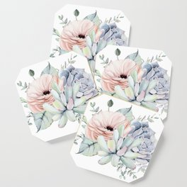 Pretty Succulents by Nature Magick Coaster