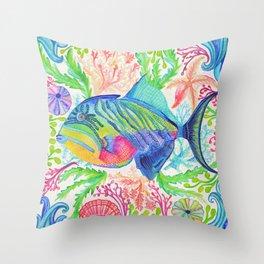 Parrot Fish & Ocean Creatures Throw Pillow