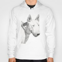 bull terrier Hoodies featuring Dogs: Bull Terrier by Ruben Pino