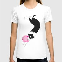 border collie T-shirts featuring Disc Dog - Border Collie by Niklab