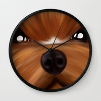 yorkie Wall Clocks featuring Yorkie face by Mario Laliberte