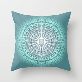 Teal Mandala Medallion Throw Pillow