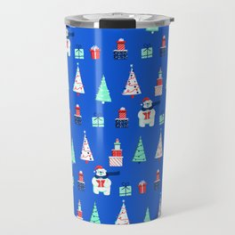 Polar Bears, Christmas Trees, and Presents! (Pattern) Travel Mug