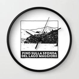 Pino sulla sponda del Lago Maggiore, Italy Wall Clock