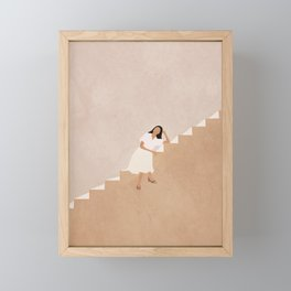 Girl Thinking on a Stairway Framed Mini Art Print