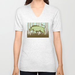 Razorback Wild Pig Boar Attacking Unisex V-Neck