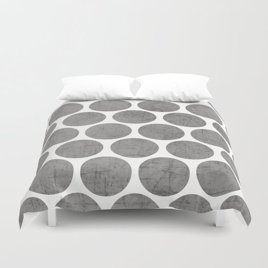 gray polka dots duvet cover by her art society6. Black Bedroom Furniture Sets. Home Design Ideas