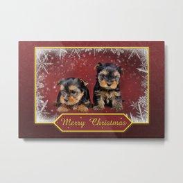 Yorkshire terrier Christmas greeting card Metal Print