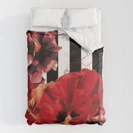 Black Stripes and Flowers  Duvet Cover