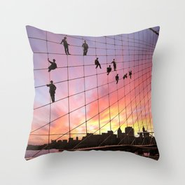 Brooklyn Bridge Painters Quitting Time Throw Pillow