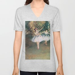 Two Dancers on a Stage by Edgar Degas Unisex V-Neck