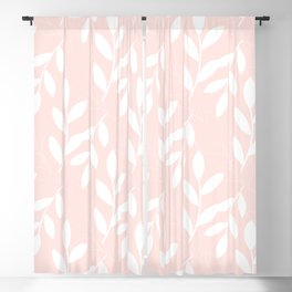 Eloquence Pink White Leaves Pattern Blackout Curtain