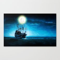 The Flying Dutchman Under The Moon - Painting Style Canvas Print