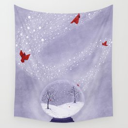 Cardinals in Snow Globe Wall Tapestry