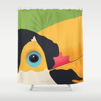 toucan Shower Curtains featuring Toucan by Ian Trajlov