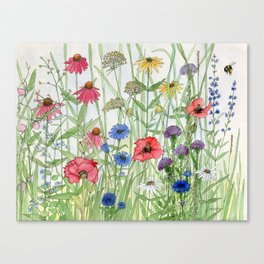 Watercolor of Garden Flower Medley Canvas Print