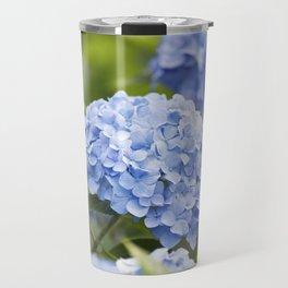 Blue Hydrangea Flower Travel Mug