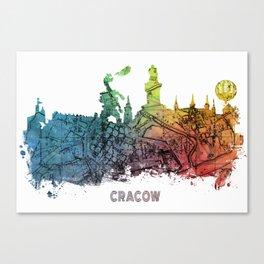 Cracow City Skyline  map #krakow #cracow Canvas Print