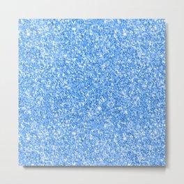 Blue glitter texture print Metal Print