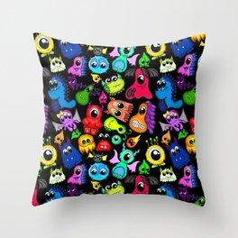 Little Monsters- Black Throw Pillow