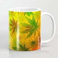 marijuana Mugs featuring Marijuana Leaves Rasta Colors by BluedarkArt