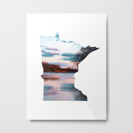 Minnesota Map Outline and the Mississippi River-Landscape Photography Metal Print