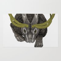 jackalope Area & Throw Rugs featuring Jackalope by Justin McElroy