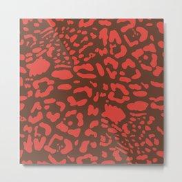 Orange cheetah spots on brown background. Metal Print