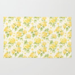 Modern  sunshine yellow green hortensia flowers Rug
