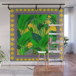 MAUVE YELLOW DIAMONDS TROPICAL GREEN & GOLD FOLIAGE Wall Mural