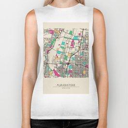 Colorful City Maps: Albuquerque, New Mexico Biker Tank