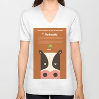 cows V-neck T-shirts featuring Save Cows by Fun Factory