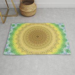 Tie Dye Sunflower Cloth Woven Sun Ray Pattern \\ Yellow Green Blue Purple Color Scheme Rug