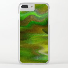 Waves of Abstraction (olive-apple-avocado green) Clear iPhone Case