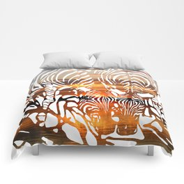 Zebras at Sunset Comforters