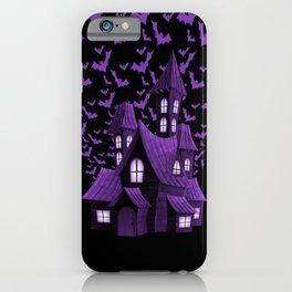 Purple Halloween Haunted House Bat Flyover iPhone Case