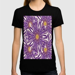 Abstracted Purple-White Flower Pattern Design T-shirt