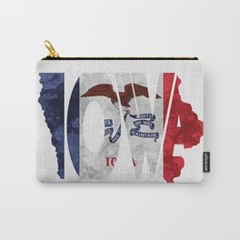 Iowa Typographic Flag Map Art Carry-All Pouch