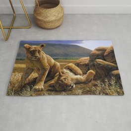 African Lion Cubs Rug