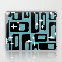 Retro Mid Century Modern Abstract Pattern 677 Black Turquoise Laptop & iPad Skin