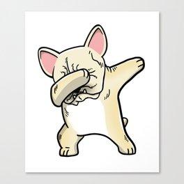 Funny Cream French Bulldog Dabbing Canvas Print