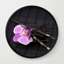 Zen pink Orchid flower on black Wall Clock