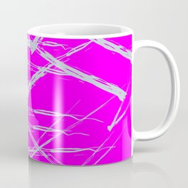 Neon Magenta background with Rough Blue Grey Paint Strokes, Teenage Girl Bedding Coffee Mug
