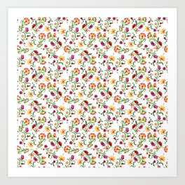 Seamless floral colorful pattern on white background Art Print