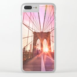 New York City Brooklyn Bridge Sunset Clear iPhone Case