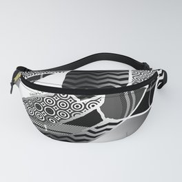 BLACK AND WHITE ABSTRACT PATCHWORK Pattern Design Fanny Pack