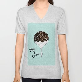 Cute Hand Drawn Foodie Cookies and Milk Unisex V-Neck