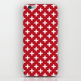 Criss Cross | Plus Sign | Red and White iPhone Skin