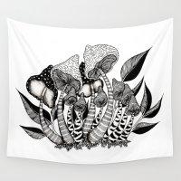 friendship Wall Tapestries featuring Mushroom Friendship by menis_art